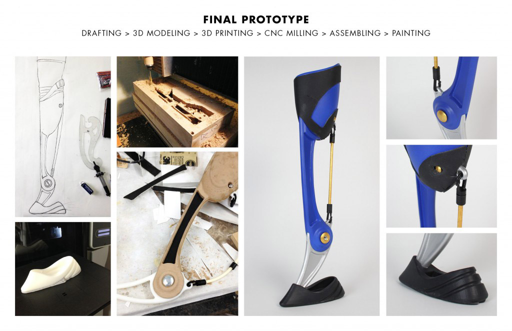 Final Protoype of KLIPPA, a prosthetic for rock climbers designed by Kai Lin