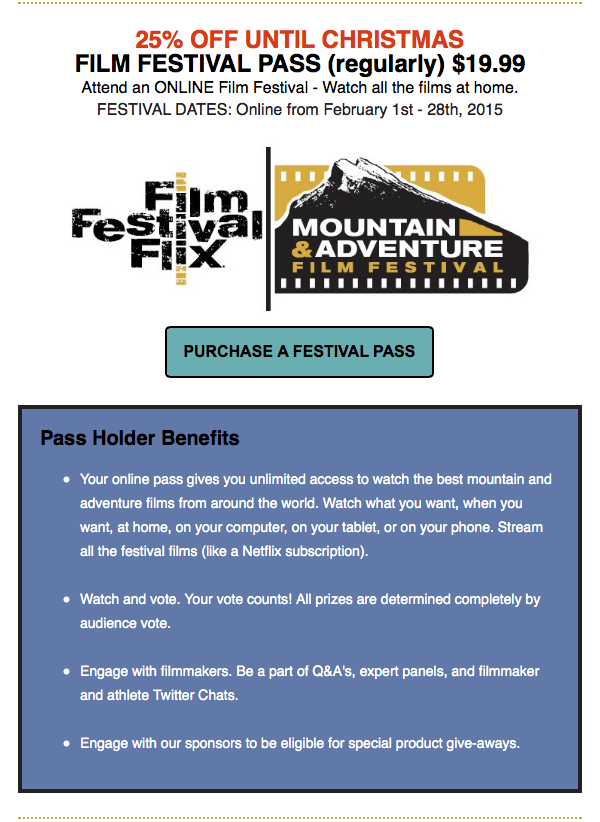 Film Festival Flix Mountain & Adventure Film Festival - Holiday Promo