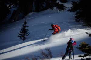 Alpine skier Chris Davenport takes some powder turns for Adventure Film School students in Vail Colorado