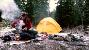 Liz camping and cooking a thanksgiving 1-pot meal in the pacific northwest